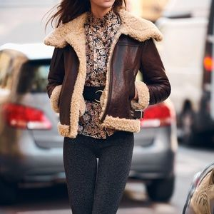 Sandro Shearling Lined Leather Jacket Coat